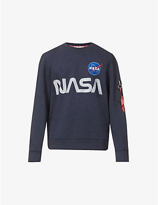 ALPHA INDUSTRIES: Nasa Reflective brand-print cotton-blend sweatshirt