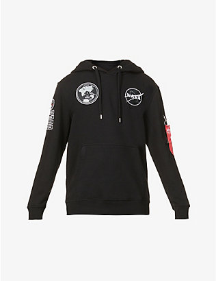 ALPHA INDUSTRIES: Voyager brand-patch cotton-blend hoody