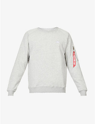 ALPHA INDUSTRIES: Brand-patch cotton-blend jersey jumper