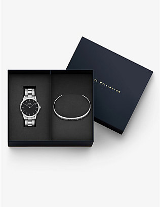 DANIEL WELLINGTON: DW00500873 Iconic Link stainless-steel Japanese Quartz watch gift set