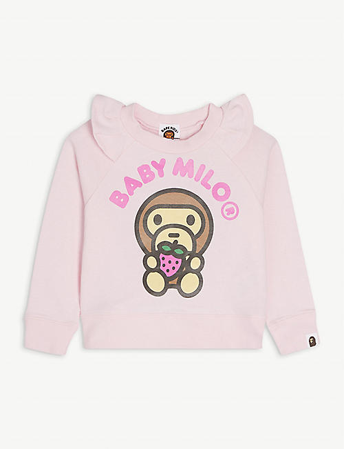 A BATHING APE: Strawberry Baby Milo graphic cotton sweatshirt 2-7 years