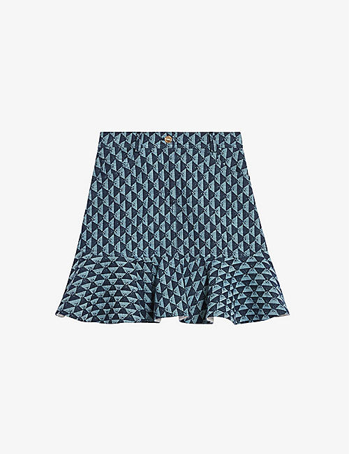 SANDRO: Paulina monogram cotton mini skirt