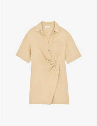 SANDRO: Elba pleated linen-blend mini dress