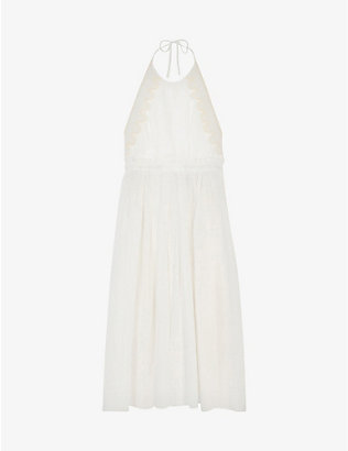 SANDRO: Jonquille halterneck woven midi dress