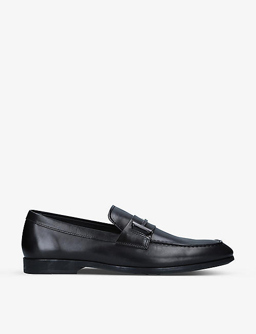 TODS: Single T brand-embellished leather loafers