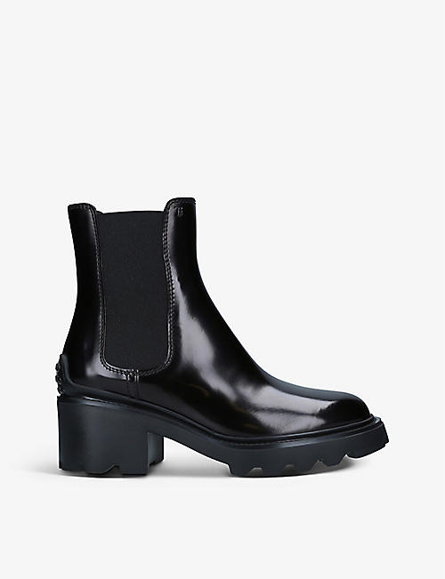 TODS: Elastic-insert leather ankle boots