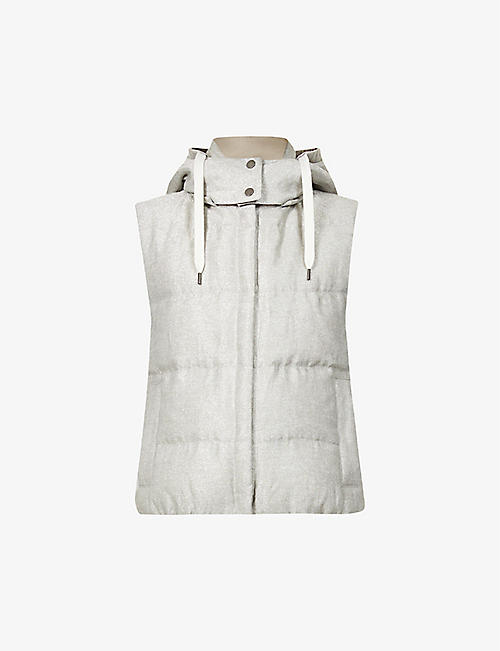 BRUNELLO CUCINELLI: Padded metallic-linen blend gilet