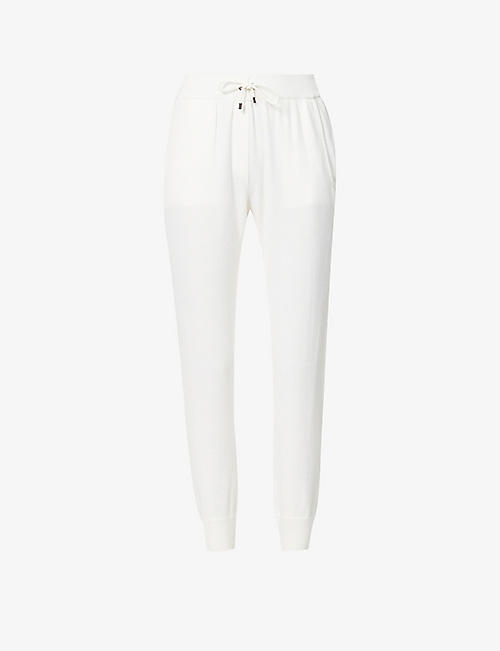 BRUNELLO CUCINELLI: Rhinestone-trim wool, cashmere and silk-blend jogging bottoms