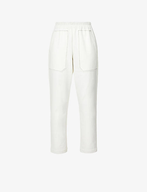 BRUNELLO CUCINELLI: Tapered high-rise stretch-cotton jersey trousers