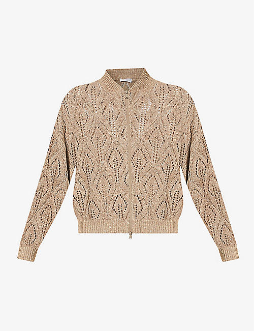 BRUNELLO CUCINELLI: Sequin-embellished linen-blend cardigan