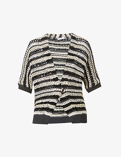 BRUNELLO CUCINELLI: Striped sequin-embellished cotton-blend knitted cardigan