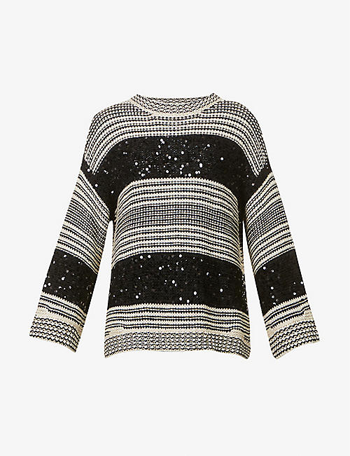 BRUNELLO CUCINELLI: Striped sequin-embellished linen-, cotton- and silk-blend knitted jumper