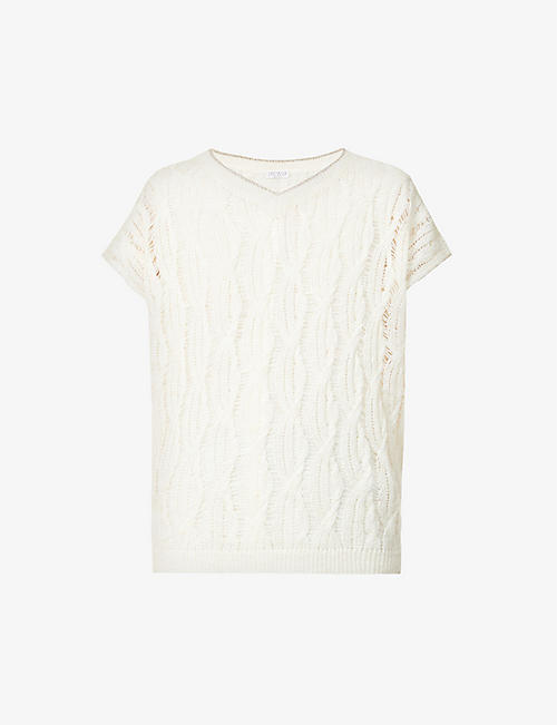 BRUNELLO CUCINELLI: V-neck woven linen-blend top