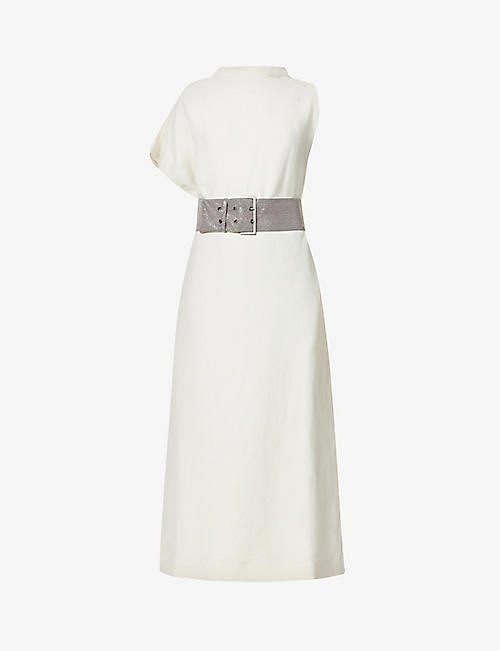 BRUNELLO CUCINELLI: One-sleeve belted woven midi dress
