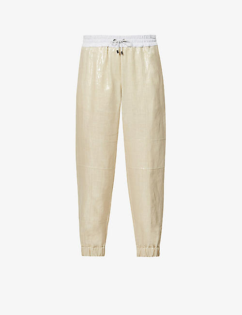 BRUNELLO CUCINELLI: Relaxed-fit high-rise linen and stretch-cotton trousers