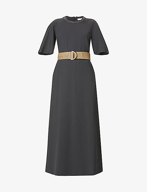 BRUNELLO CUCINELLI: Embellished stretch-cotton midi dress
