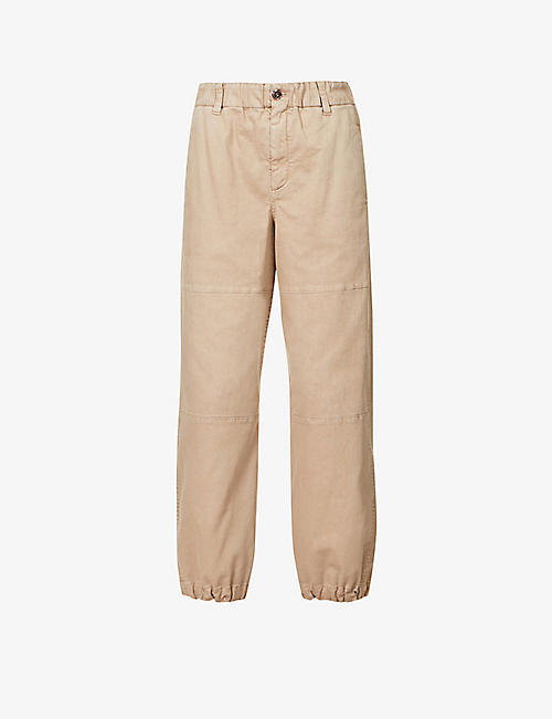 BRUNELLO CUCINELLI: Tapered high-rise cotton-blend trousers