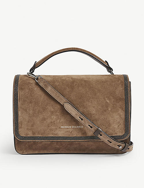 BRUNELLO CUCINELLI: Logo-print suede shoulder bag