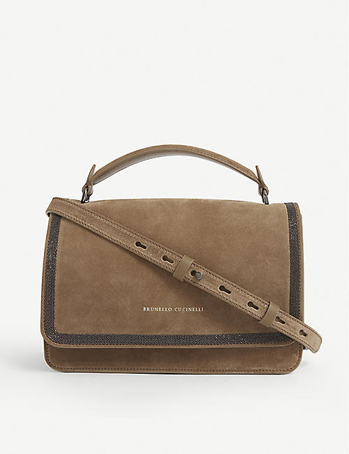 BRUNELLO CUCINELLI: Bead-embellished suede shoulder bag