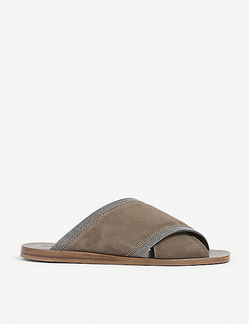 BRUNELLO CUCINELLI: Bead-embellished open-toe suede sandals