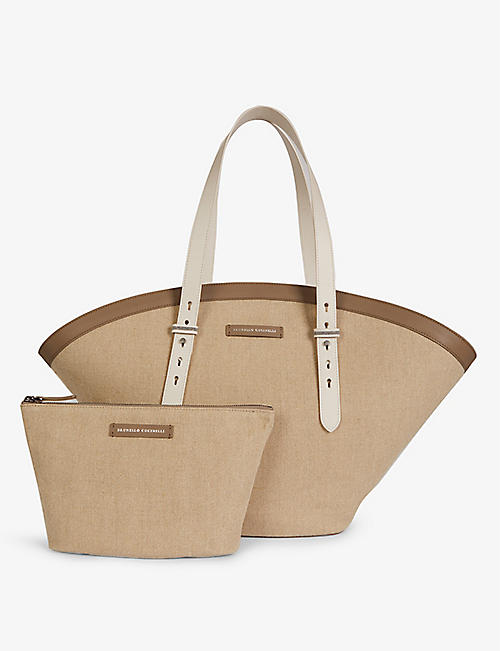 BRUNELLO CUCINELLI: Branded canvas and leather tote bag