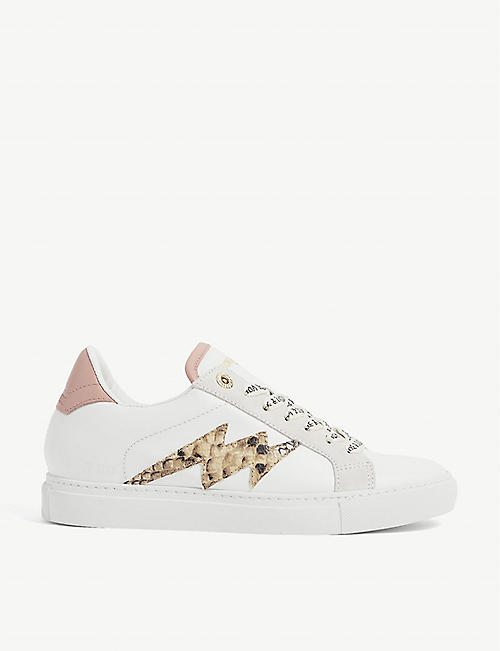 ZADIG&VOLTAIRE: Lion leopard-print low-top leather trainers