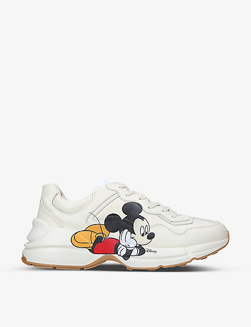GUCCI:Men's Gucci x Disney Mickey Mouse Rhyton 皮革中帮运动鞋