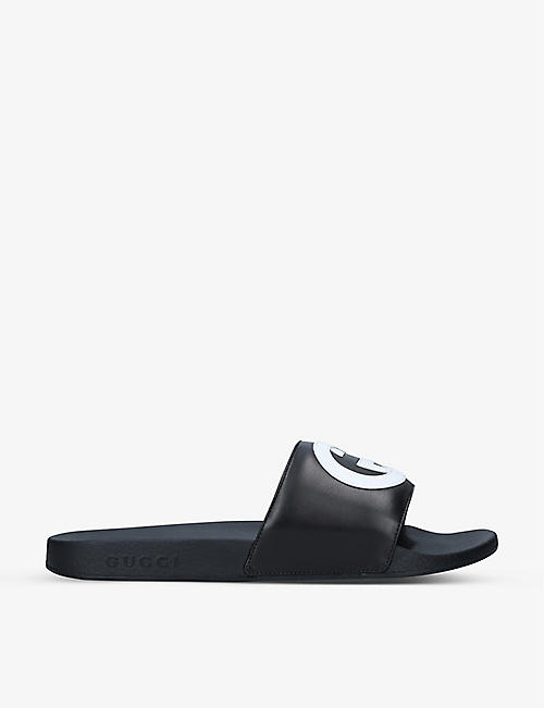 GUCCI: Pursuit GG-embossed rubber sliders