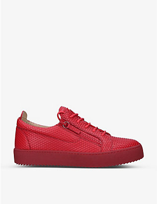 GIUSEPPE ZANOTTI: May London croc-embossed leather low-top trainers