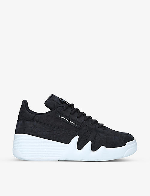 GIUSEPPE ZANOTTI: Talon croc-embossed leather low-top trainers