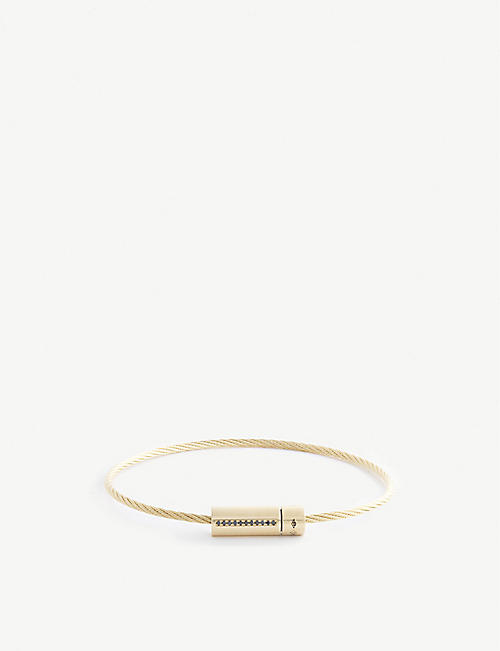 LE GRAMME: Cable Le 9g 18ct yellow-gold and 0.05ct diamond bracelet