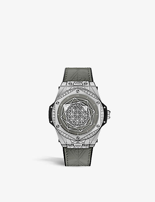 HUBLOT: 465.SS.7047.VR.1204.MXM20 One Click Sang Bleu stainless steel and diamond watch