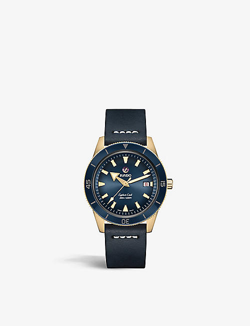 RADO: R32504205 Captain Cook Automatic bronze and leather watch