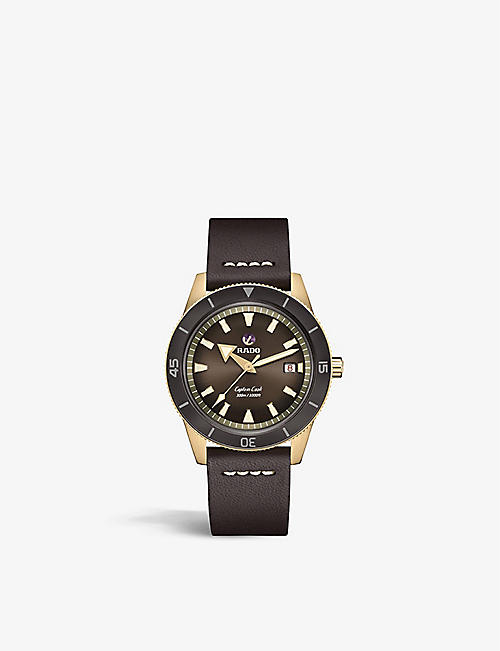 RADO: R32504306 Captain Cook Automatic bronze and leather watch