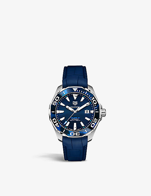 TAG HEUER: WAY201P.FT6178 Aquaracer stainless steel and rubber watch