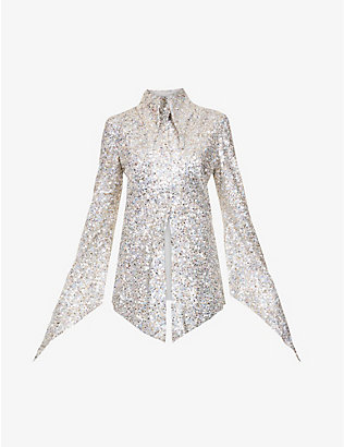 16 ARLINGTON: Sangana loose-fit sequin-embellished shirt