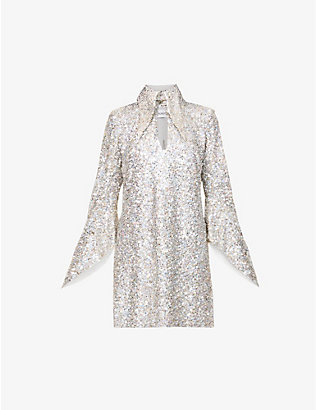 16 ARLINGTON: Sangana loose-fit sequin-embellished mini dress