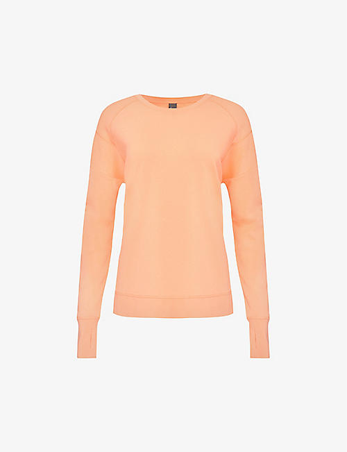 SWEATY BETTY: After Class organic cotton-blend jersey sweatshirt