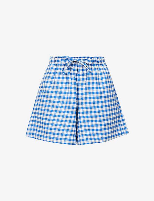 HOLZWEILER: Mulan gingham-print high-rise cotton-blend shorts