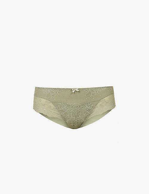 PANACHE: Ana high-rise stretch-lace and mesh briefs