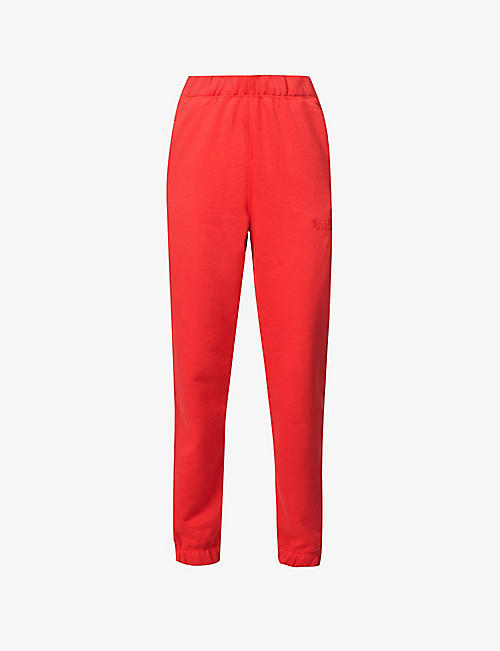 GANNI: Logo-print organic-cotton- and recycled-polyester-blend jogging bottoms