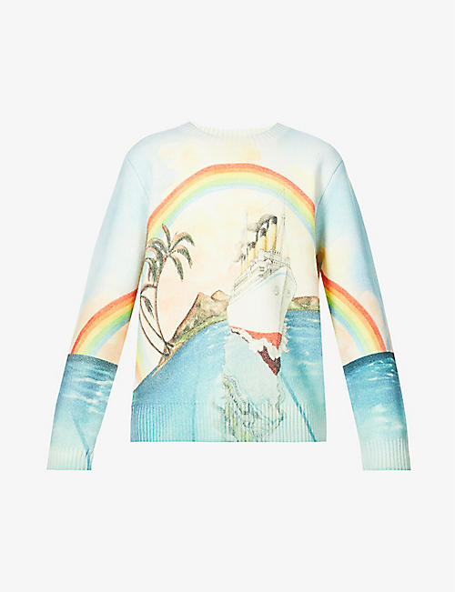 CASABLANCA: Rainbow-print crewneck wool and cashmere-blend jumper