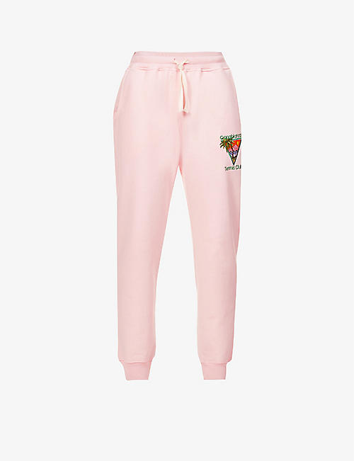 CASABLANCA: Tennis Club embroidered organic cotton-jersey jogging bottoms