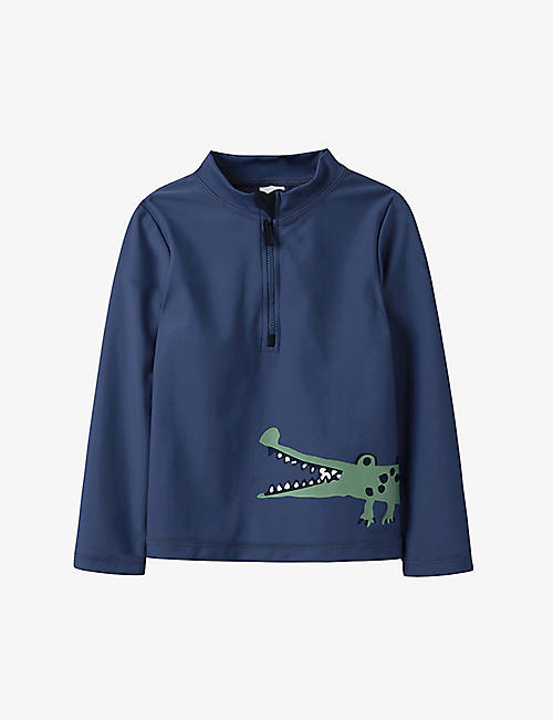 THE LITTLE WHITE COMPANY: Crocodile-print recycled polyester swim shirt 1-6 years