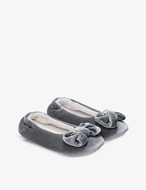 THE LITTLE WHITE COMPANY: Bow velvet slippers 6 months - 8 years
