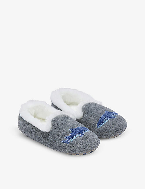 THE LITTLE WHITE COMPANY: Shark woven slippers 1-12 years