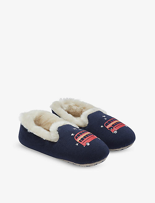 THE LITTLE WHITE COMPANY: London Bus woven slippers 1-12 years