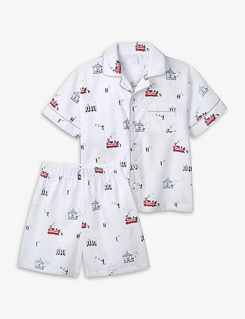 THE LITTLE WHITE COMPANY: London graphic-print cotton pyjama set 1-6 years