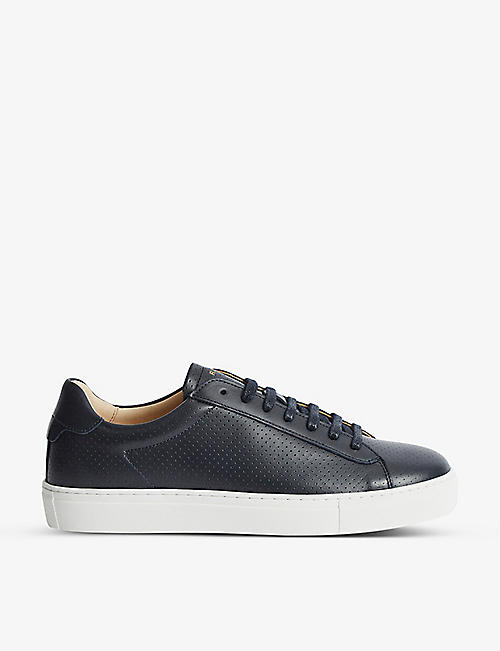 REISS: Finley perforated leather low-top trainers
