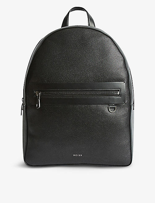 REISS: Ethan grained leather backpack
